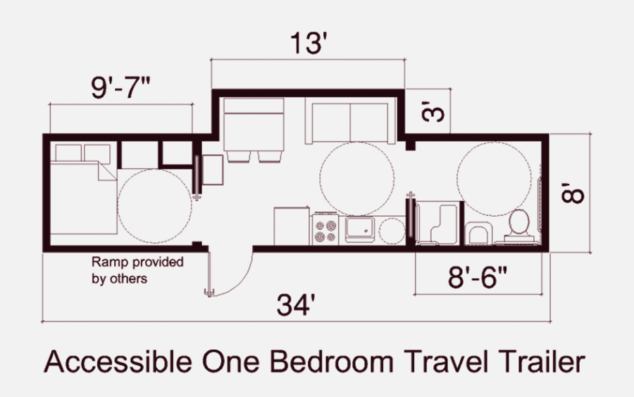 Floor plan of fema one bedroon trailer for Ada home floor plans