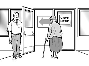 image showing a door to a polling place being held open by staff