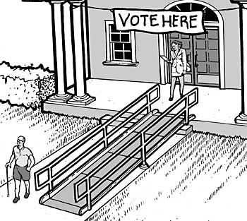 image of the entrance of a polling place with a ramp and a sign that reads vote here