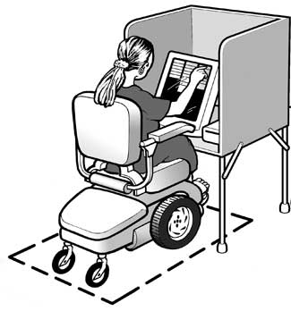 image showing a woman using a power wheelchair pulling up to an accessible voting machine
