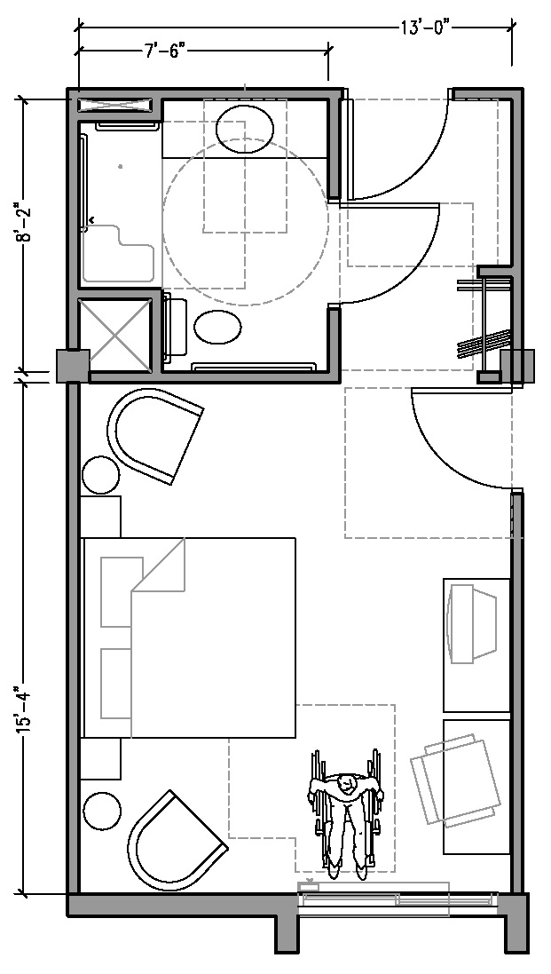 PLAN 2a ACCESSIBLE 13 Ft Wide Hotel Room Based On 2004 ADAAG