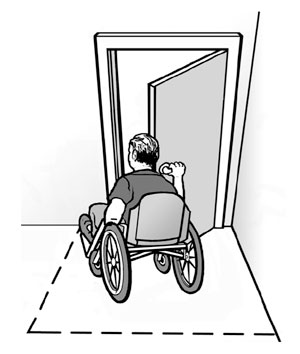 Illustration:  Clear floor space in front of an accessible entrance