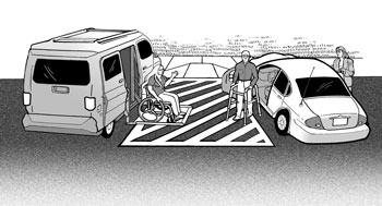 Illustration: Use of access aisle between two accessible parking spaces with people getting out of vehicles into it