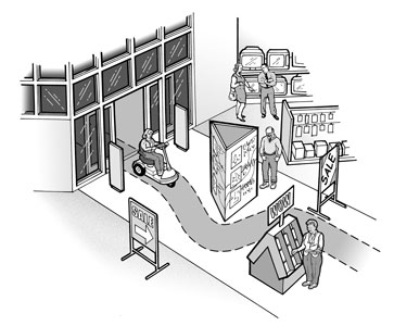 Illustration:  Accessible route into a retail establishment