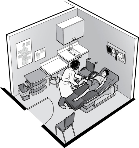 Illustration showing doctor in exam room with woman lying on exam table.  A wheelchair is parked beside the exam table.