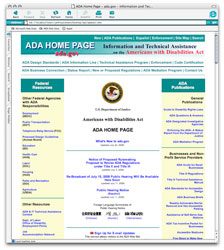 screenshot of ada.gov home page