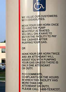 photo - directions near pump honk twice for assistance