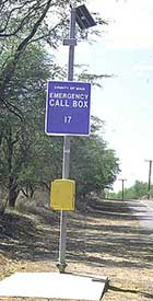 emergency call box beside road
