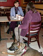woman with service animal in restaurant with another woman