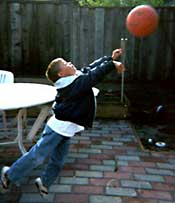 Jeremy shoots a basketball