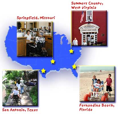 four small photos from ADA stories superimposed on map of USA