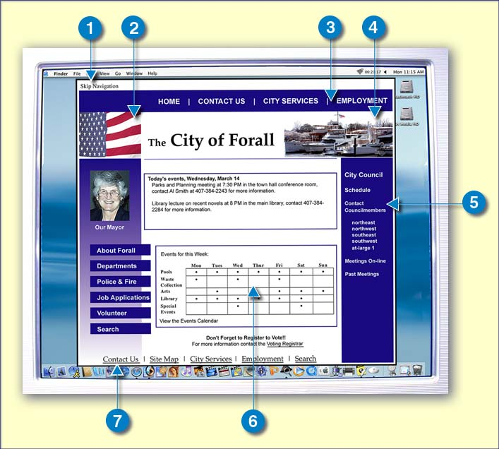 demonstration image of City of Forall website with notes for accessible features