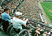 view of playing field from wheelchair seating