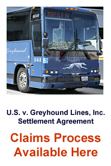 U.S v. Greyhound Lines, Inc. Settlement Agreement, Claims Process Available Here (image of front of Greyhound bus)