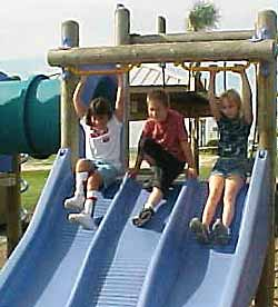 photo - 3 children on slide at playground
