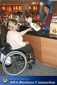 Photo: A woman in a wheelchair makes a purchase, ADA Business Connection Logo