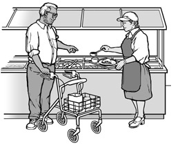 At a self-serve food bar, a staff person is preparing a tray of food for a customer using a walker.