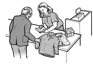 In a department store, a man who is deaf is purchasing shirts. A sales clerk is writing a note to answer a question he has asked.