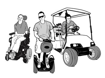 drawing of a woman in a power wheelchair, a man on a Segway<sup>&reg;</sup>, and a man sitting in a golf car