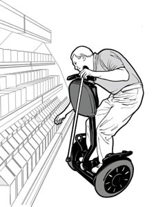 drawing of a man using a Segway<sup>®</sup> reaching for an item in a grocery store cooler