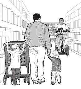 drawing of a man with two small children and a man using a Segway<sup>&reg;</sup> passing in a store aisle