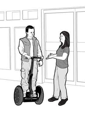 drawing of a store employee having a conversation with a man using a Segway<sup>®</sup>