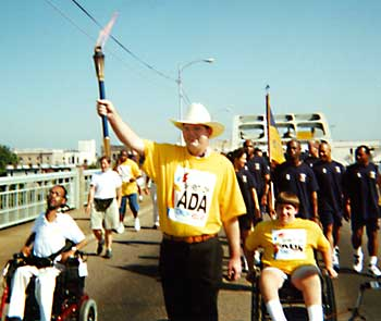 Spirit of ADA Torch Relay crosses Edmund Pettus Bridge