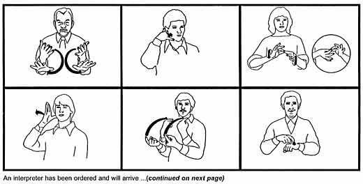 pictograms of figures using sign language for hospital communication