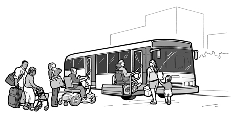 image of people with disabilities boarding a bus