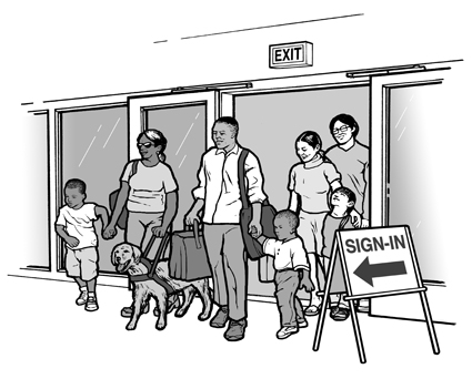image of family entering a shelter