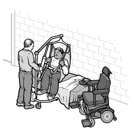 A shelter worker helps a person onto a cot using a portable lift provided by