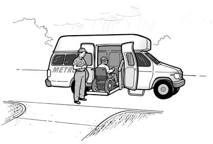 image of a paratransit driver assisting man using a wheelchair