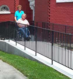 photo of Joseph Bragg and Mrs. Bragg on new ramp