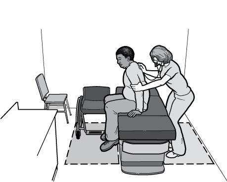 Illustration Of Patient Sitting On Adjustable Height Exam Table Next To A  Nurse Performing An Exam