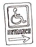 Directional signage should be used to show direction to the accessible route, accessible entrance, and voting area