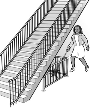 When the underside of a set of stairs is open, it is a hazard to people who are blind or have low vision. Enclosing the area below the stair or installing a cane-detectable barrier helps the person to stop before hitting her head