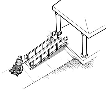 A portable ramp with edge protection and handrails is placed over stairs to provide an accessible route on Election Day