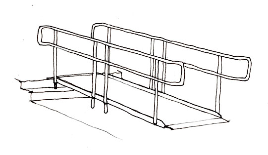 Portable ramps with handrails must be used for heights greater than six inches to provide access over steps. For ramps greater than six inches high, temporary edge protection such as a pipe or piece of wood can be attached with ties or twine to the edges of the ramp. Edge protection must run the entire length of the ramp