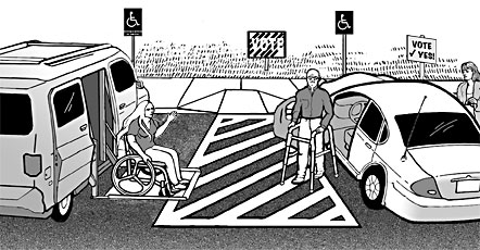 A van accessible parking space and a car parking space share an access aisle