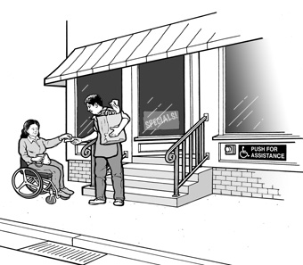 In front of a grocery store with four steps up to the entrance, a customer using a wheelchair is handing money to a clerk who is holding a bag of groceries.