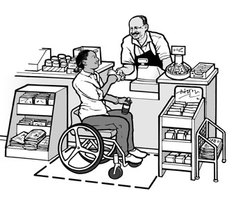 A woman using a wheelchair is buying a drink at a small grocery store.  Adequate maneuvering space and a low, uncluttered counter make it possible for her to approach the sales counter.