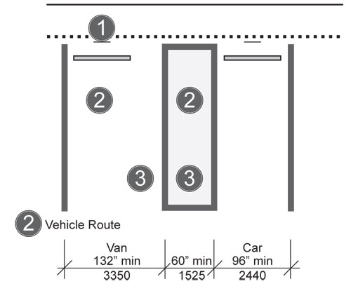 Minimum 132 inch wide van accessible parking space with 60 inch minimum  width access. ADA Compliance Brief  Restriping Parking Spaces   2010 Standards