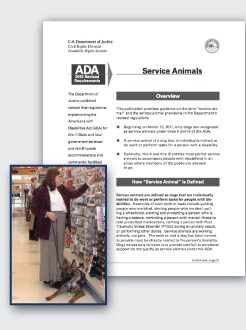 image of a document with a smaller image in front of a woman shopping with her service animal
